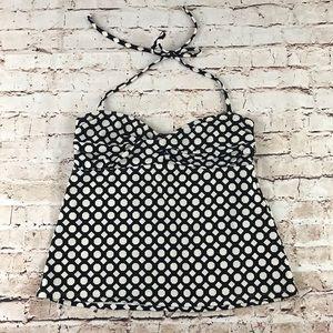 Catalina Tankini Bl & Wh Print Swimsuit Top Sz SM